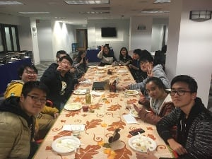 International students enjoy Thanksgiving dinner
